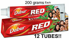 12 TUBES! Dabur Red Herbal ToothPaste 200grams Ayurvedic Clove & Mint USA SELLER