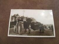 1920s fr RP postcard - road or remembrance & street sign - Folkestone Kent