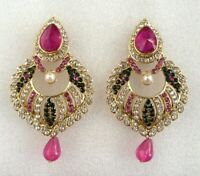 Ethnic Indian Bollywood Gold Pink Green Earrings Handmade Women Party Jewelry