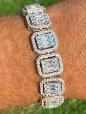 Men's Real Solid 925 Silver Baguette Iced Bracelet 15mm Thick Bust Down Diamonds