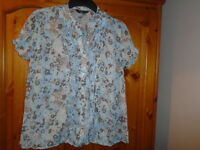 Duck egg blue and brown floral semi sheer cap sleeve blouse, BON MARCHE, size 12