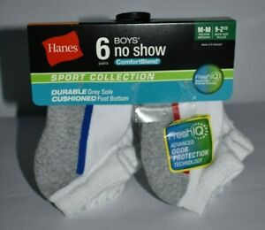 6 Hanes Boys No-Show ComfortBlend Assorted White Socks Sizes  - L & M