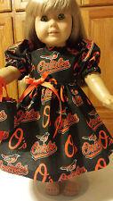 "18"" Doll Clothes  Dress & Tote Bag  Baltimore Orioles Fabric Black & Orange"