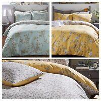 Country Style Floral Leaf Design Reversible Quilt Bedding Linen Duvet Cover Set