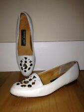 Berne Mev Designer All Leather White Rhinestone Shoes Size 8 (Fits Like 7 1/2)