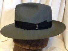 Vintage Borsalino Alessandria Grand Prix 1900 Gray Mens Fedora Italy Hat 7 1/8