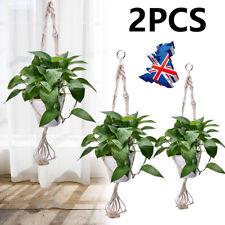 More details for 2pcs jute macrame plant hanger flower pot holder hanging rope wall art garden