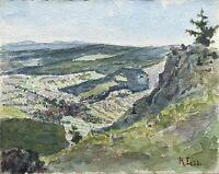 Reinhard Löschin Aquarell Berliner Maler Landschaft Blick ins Tal Berge