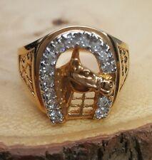 Gold Plated Horseshoe Men's Ring Size 14 Horse Western Rhinestones USA Seller