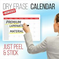 Dry Erase Calendar White Board Set | Reusable, Adhesive, Blank & Undated Monthly