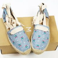 Anthropologie KMB Womens Shoes Size 10 Ankle Tie Espadrilles Blue Canvas Leather