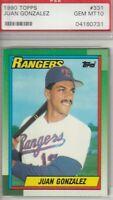 Juan Gonzalez 1990 Topps Rookie Card #331 GEM MINT 10 Texas Rangers