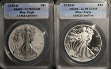 2013-W West Point Silver Eagle 2pc Set Certified RP70 /& EU70 First Release