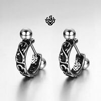 Silver stud carved stainless steel earrings huggies cuff screw on Soft Gothic