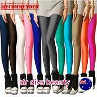 Woman Multi-color Colorful Shiny Neon Glossy Stretch Dance Gym Leggings pants