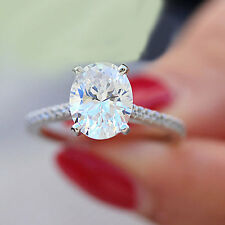 14K WHITE GOLD OVAL CUT SIMULATED DIAMOND ENGAGEMENT RING BRIDAL WEDDING 1.75CT