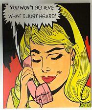 Original Pop Art Painting 'Gossip Girl' Retro Comic  love romance style