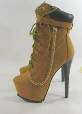 """Wheat/Brown 6.5""""Stiletto High heel 2.5""""platform lace up sexy ankle boot size  11"""