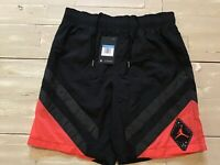 Men's Nike Air Jordan Legacy 6 Retro Nylon Shorts Black/Red BV5409-010 Size M
