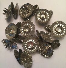 Set 11 Antique Victorian Christmas Tree Candle Holder Clip PINECONE Tin Metal