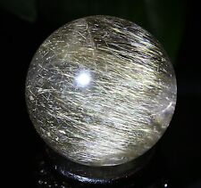 50mm  Natural Clear Gold Hair Rutilated Crystal Ball SPHERE Quartz Specimen