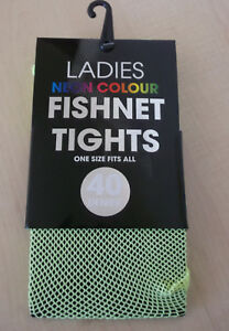 Neon Colour Fishnet Tights One Size Yellow 40 Denier