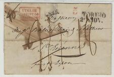 """Italy: 1837; cover XF """"Pont de Beauvoisin"""" very rare, cancellation 5 red... IT21"""