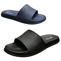 NEW Men's Casual Sandals Rubber Slides Black Navy Slipper Shoe Size 6-13 (S-XL)
