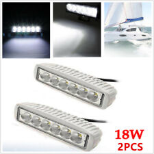 2x 18W Spreader 6 LED Stainless White Marine SUV Dock Light Lamp 12v Flood Light