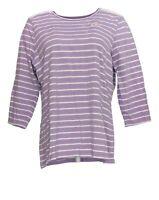 Denim & Co. Women's Top Sz L Striped Jersey 3/4 Sleeve Top w/Lace Purple A374614