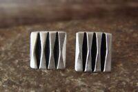 Navajo Hand Stamped Sterling Silver Post Earrings by Leander Tahe