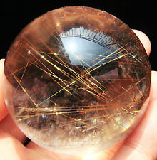 55mm Sparkling ! Natural Clear Gold Rutilated Quartz Crystal Sphere Gem Ball