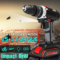 3/8'' 36V 25+3 Cordless Electric Impact Power Keyless Drill LED 2-Speed Li-Ion