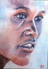Aceo Fine Art Card Original Watercolor Portrait Painting /woman face  Aceo