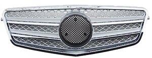 Mercedes Benz W212 10-13 Front Grille Chrome & Silver w/Emblem E350 E550 E63 AMG