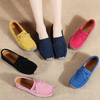 Womens Moccasin Faux Fur Suede Comfort Loafers Walking Casual Slip On Flat Shoes
