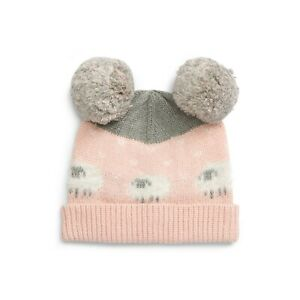 Tucker + Tate Girls Toddler Pink Sheep Beanie Double Pom Size 12-24 M