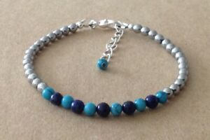 TURQUOISE+LAPIS+Silver HEMATITE Beaded, Silver Plated, Friendship Bracelet