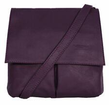 Neues AngebotDamen Umhängetasche Handtasche dunkellila Italienisches Leder Vera Pelle Messenger