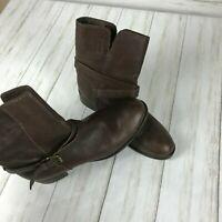 Women's J. Crew Ryder Short Leather Buckle Boots sz 8.5 brown #10156