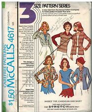 4617 Vintage McCalls Sewing Pattern Misses Top Cardigan Shirt 1970's Carefree
