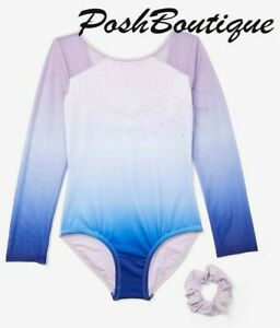 NWT JUSTICE Leotard Ombre Sparkle Long Sleeve Dance Gymnastic 6 8 10 12 14 16 18