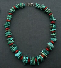 """SILVER NATIVE TURQUOISE NECKLACE  18.5"""" 925 STERLING"""
