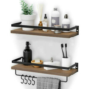 2 Tier Wooden Floating Shelf Wall Mounted Display Shelf Bookshelf w/ Hanging Bar