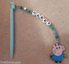 Personalised DS / DSi Stylus Pen with charm George Pig blue pen