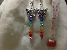 Chakra Earrings Rainbow Butterfly Swarvoski Crystal