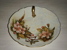 "VINTAGE PATSY NEWHOUSE PL LIMOGES APPLE BLOSSOM 7.50""CANDY DISH HANDLE GOLD TRIM"