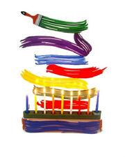 Brush Strokes Hanukkah Menorah by David Gerstein  - Israeli Art & Gifts