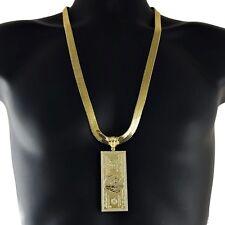 "100 Dollar Bill 14k Gold Plated 30"" 11MM Herringbone Necklace Hundred Cash Chain"