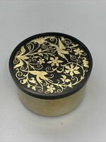 Vintage Oneida Round Bakelite With Brass Inlay Cloisonné Powder Trinket Box Bird